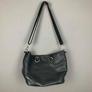 Authentic Burberry black leather crossbody handbag